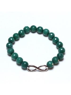 Браслет Бесконечность из ограненного агата изумрудного цвета Магазин браслетов. Цвет: зеленый, темно-зеленый, светло-зеленый, хаки, оливковый, салатовый, серо-зеленый, серебристый