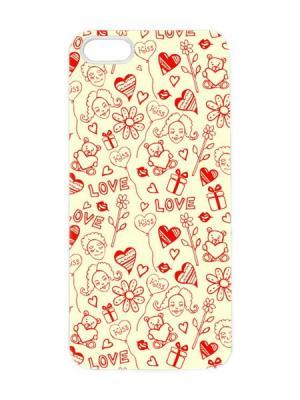 Чехол для iPhone 5/5s Love принт Арт. IP5-093 Chocopony. Цвет: желтый, красный
