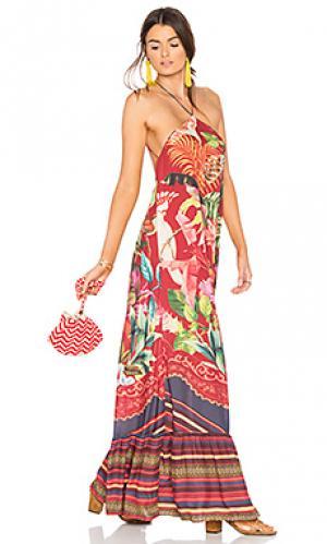 Длинное платье birds of paradise FARM. Цвет: красный