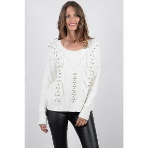 Пуловер с круглым вырезом из тонкого трикотажа MOLLY BRACKEN. Цвет: черный