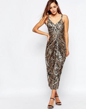 VLabel London Платье миди с принтом Kitsch. Цвет: мульти