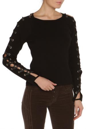 Полуприлегающий джемпер со шнуровкой на рукавах Gattinoni. Цвет: черный