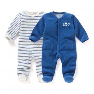2 пижамы для новорожденных из махровой ткани 0 мес-3 лет R mini. Цвет: в полоску + синий