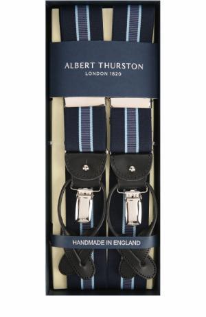 Подтяжки с отделкой из натуральной кожи Albert Thurston. Цвет: синий