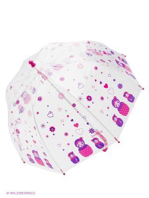 Зонт Isotoner. Цвет: малиновый, прозрачный
