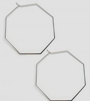 Orelia Серебристые восьмиугольные серьги-кольца. Цвет: серебряный