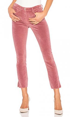 Укороченные бархатные брюки с разрезами higher ground 3x1. Цвет: розовый