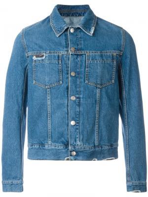 Джинсовая рубашка с рваными деталями Maison Margiela. Цвет: синий