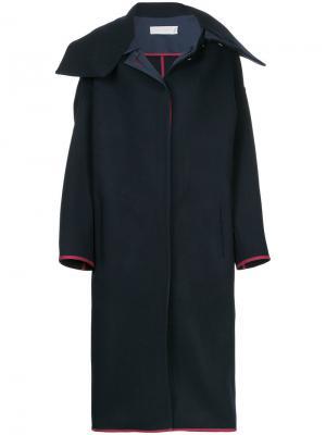 Длинное пальто в стиле оверсайз Victoria Beckham. Цвет: синий