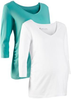 Футболка для беременных (2 шт.) (белый + зеленый океан) bonprix. Цвет: белый + зеленый океан