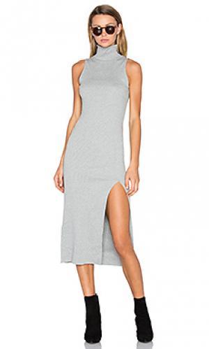 Макси платье с разрезом gunnar Viktoria + Woods. Цвет: серый