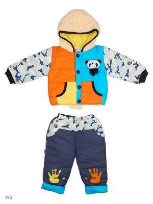 Куртка и брюки на синтепоне Happy Bear. Цвет: голубой, оранжевый, синий