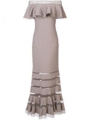 Платье с открытыми плечами Tadashi Shoji. Цвет: телесный
