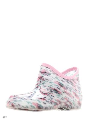 Резиновые полусапожки из поливинилхлоридной композиции женские. BRIS. Цвет: молочный, розовый