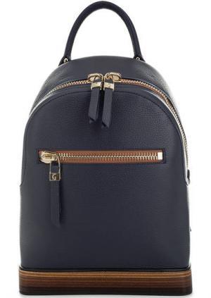Синий кожаный рюкзак на молнии Gironacci. Цвет: синий