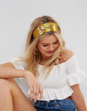 ASOS Повязка на голову с вышивкой. Цвет: золотой