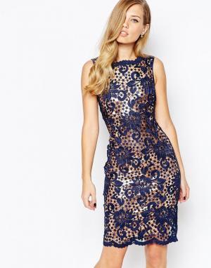 Body Frock Кружевное платье с нижним слоем бронзового цвета Nancy. Цвет: синий