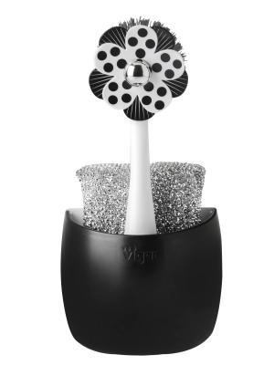 Щетка для посуды и губка на подставке VIGAR. Цвет: черный, белый