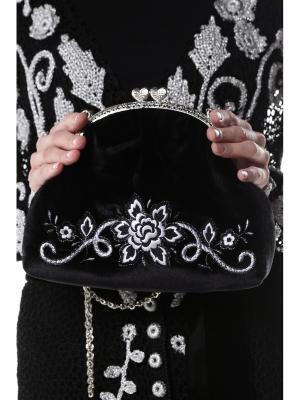 Сумочка ручной работы из французского бархата с вышивкой Бело-серебряная Роза SEANNA. Цвет: черный