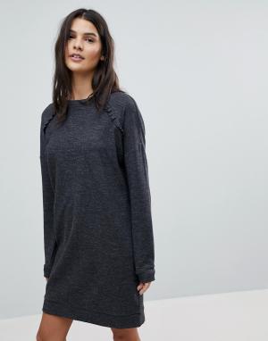 Esprit Трикотажное платье с оборками Еsprit. Цвет: серый