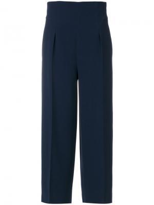 Широкие укороченные брюки Alberta Ferretti. Цвет: синий