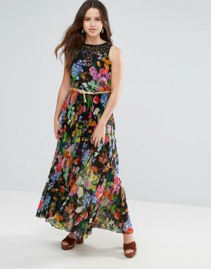 Louche Платье макси с цветочным принтом. Цвет: черный