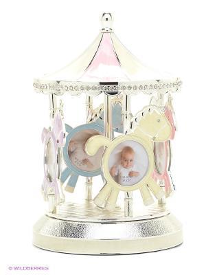Фоторамка на 8 фото 5х5см Карусель с музыкой PLATINUM quality. Цвет: серебристый, молочный, розовый