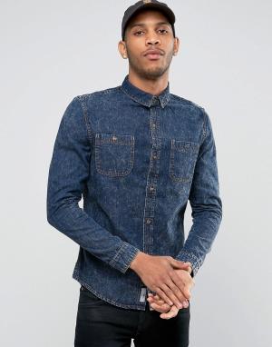 Bellfield Джинсовая рубашка с эффектом кислотной стирки. Цвет: темно-синий