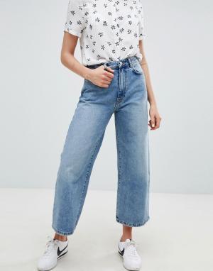 Pull&Bear Широкие джинсы. Цвет: синий