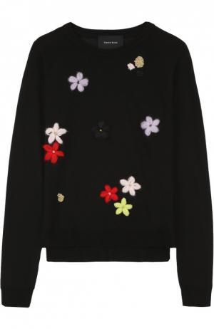 Пуловер с круглым вырезом и цветочной вышивкой Simone Rocha. Цвет: черный
