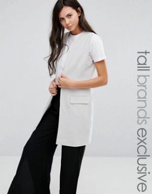 ADPT Tall Приталенный пиджак без рукавов на одной пуговице. Цвет: серый
