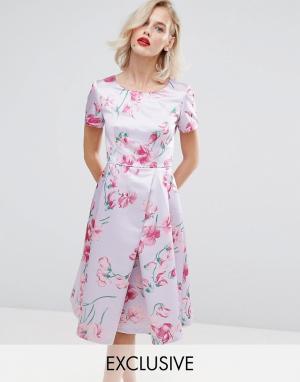 Horrockses Атласное платье для выпускного с принтом. Цвет: мульти