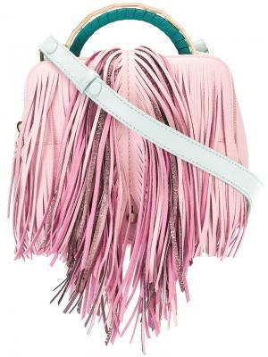 Сумка через плечо с бахромой The Volon. Цвет: розовый и фиолетовый