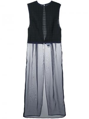 Плиссированное платье в клетку Facetasm. Цвет: чёрный