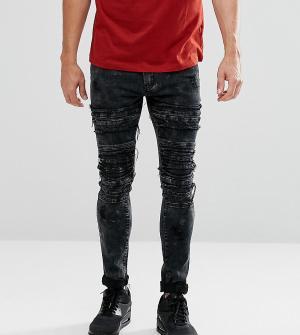 Liquor N Poker Черные байкерские джинсы скинни. Цвет: черный