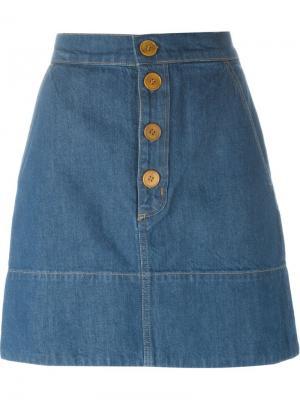 Джинсовая юбка Pedalo Mih Jeans. Цвет: синий