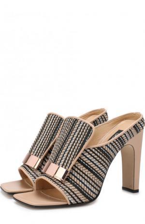 Кожаные мюли с текстильной отделкой на устойчивом каблуке Sergio Rossi. Цвет: кремовый
