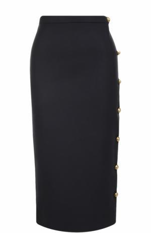 Шерстяная юбка-карандаш с контрастными пуговицами Rochas. Цвет: синий