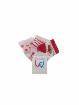 Носки детские, 3 пары PERA MAYA. Цвет: белый, красный, розовый