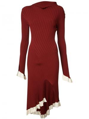 Ruffled knit dress Esteban Cortazar. Цвет: красный
