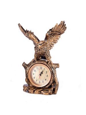 Часы настольные Ястреб Русские подарки. Цвет: темно-коричневый