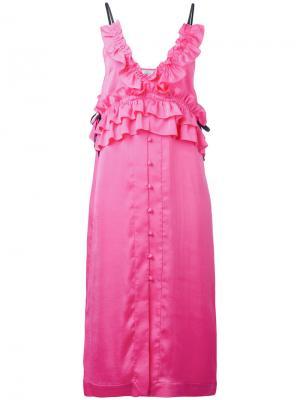 Платье с оторочкой из рюшей Sjyp. Цвет: розовый и фиолетовый