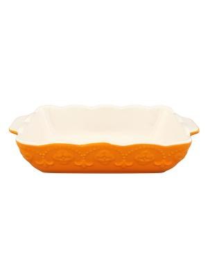 Блюдо для запекания Оранжевое с узором Elan Gallery. Цвет: оранжевый