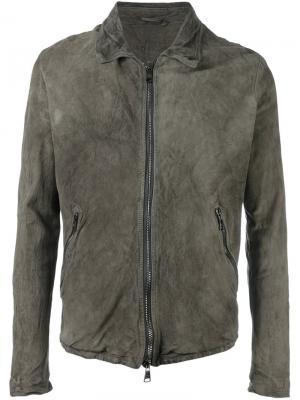 Кожаная куртка на молнии Giorgio Brato. Цвет: серый