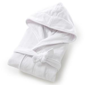 Халат, махровая велюровая ткань, 450 г/м², качество Best La Redoute Interieurs. Цвет: белый,розовая пудра