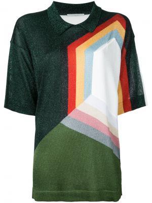 Джемпер с короткими рукавами и геометрическим принтом Marco De Vincenzo. Цвет: многоцветный