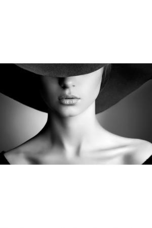 Холст Девушка в шляпе Ecoramka. Цвет: черно-белый