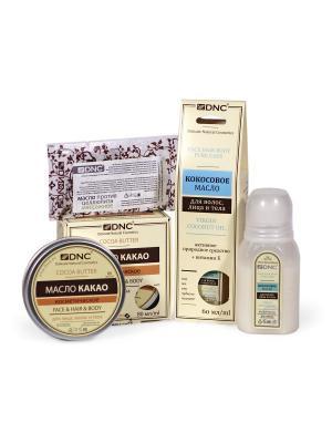 Масла для бережного ухода за кожей: Какао, Кокос (80 мл, 60 мл) и подарок - масло Массажное DNC. Цвет: молочный, прозрачный, светло-желтый
