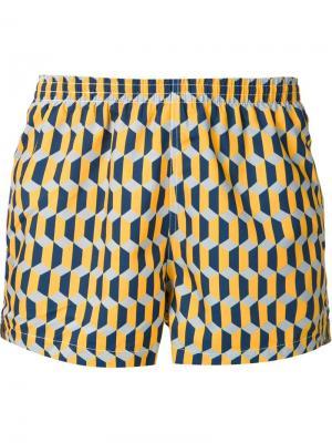 Шорты для плавания с зигзагообразным узором Timo Trunks. Цвет: жёлтый и оранжевый