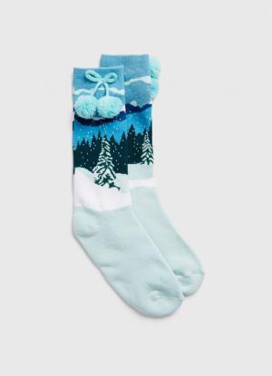 Жаккардовые носки с новогодним рисунком OSTIN. Цвет: светло-ментоловый